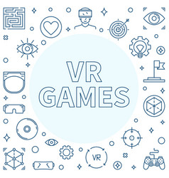 vr games line frame virtual reality games vector image