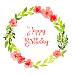 Watercolor floral happy birthday wreath background vector