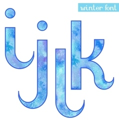 Winter watercolor font IJKL vector