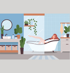 woman relax in bathroom hygiene lifestyle washing vector image