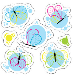 bright colorful butterflies stickers set vector image vector image