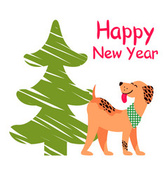 happy new year poster with christmas tree and dog vector image vector image