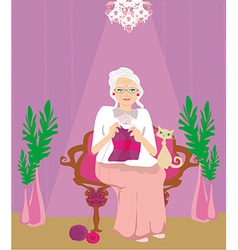 senior woman knitting vector image