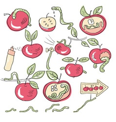 worms and apples vector image vector image