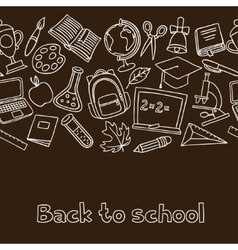 School seamless pattern with hand drawn icons on vector image