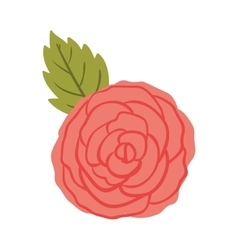 Silhuette red rose with leaf vector
