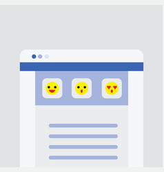 website user interface main page with emoji icons vector image vector image