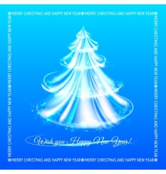 Abstract blue christmas tree background vector image vector image