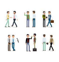 businessmen working concept collection on white vector image