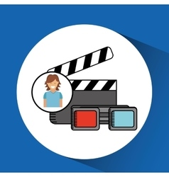 cheerful girl conecpt cinema clapper and glasses vector image