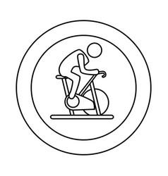 Contour circular border with silhouette man in vector