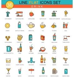 Drinks flat line icon set Coffee alcogol vector image
