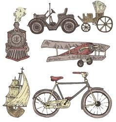 Engraved transport set vector