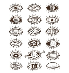Eyes sketchy hand drawn outline collection on vector image vector image
