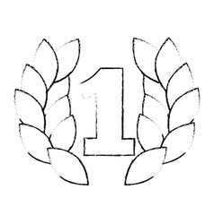 number one with wreath trophy award vector image vector image
