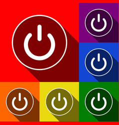 on off switch sign set of icons with flat vector image