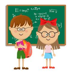 school kids with glasses standing near blackboard vector image