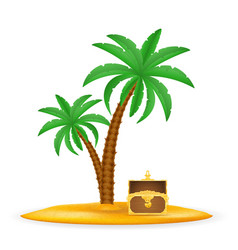 treasure chest on sand under palm tree stock vector image