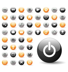 glossy icon set for web applications vector image