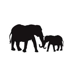 mom and baby elephants family animal wildlife vector image