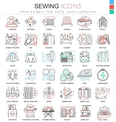 Sewing color line outline icons for apps vector image vector image