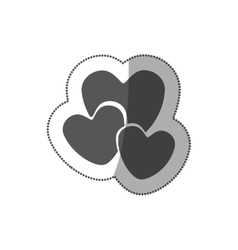 sticker grayscale silhouette with hearts in vector image vector image