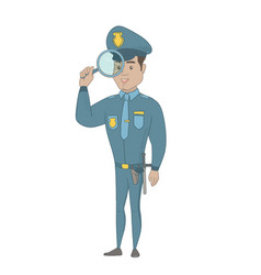 young hispanic detective with magnifying glass vector image