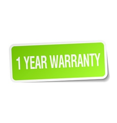 1 year warranty green square sticker on white vector