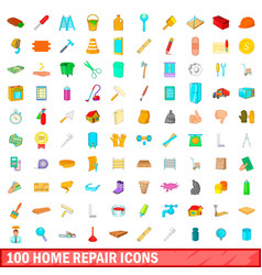 100 home repair icons set cartoon style vector