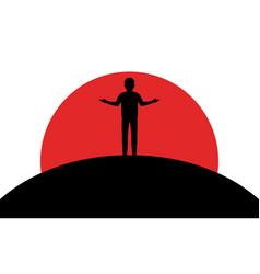 A man shrugs a guy stands on a hill sunset vector