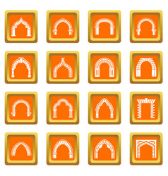 arch types icons set orange square vector image