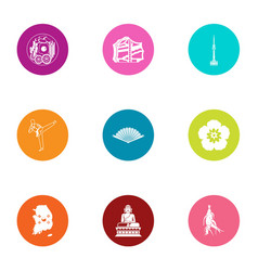 Asia spot icons set flat style vector
