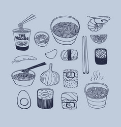 asian cuisine hand drawn doodles style vector image