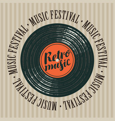 Banner for retro music festival with vinyl record vector