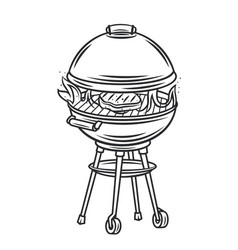 bbq grill with and steak icon outline icon vector image