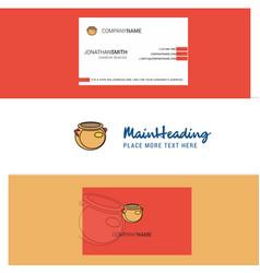 beautiful pot logo and business card vertical vector image
