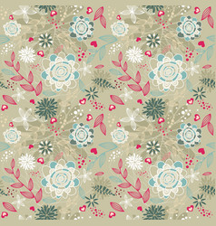 beauty floral patterns background on brown color vector image