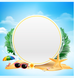 blank circle with copy space starfish flower palm vector image
