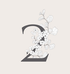 blooming floral number 2 monogram and logo vector image