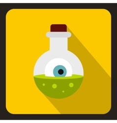 Bottle with potion and eye icon flat style vector
