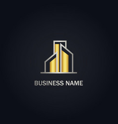 building business gold logo vector image