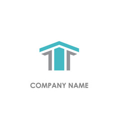 building shape line company logo vector image