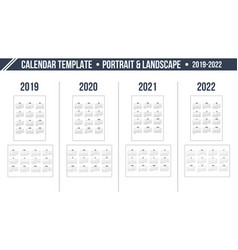 calendar grid for 2019-2022 year on white vector image