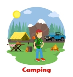 Camping and hiking concept vector image