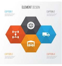 Car icons set collection of truck wheelbase vector