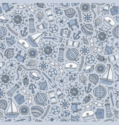 cartoon nautical seamless pattern vector image