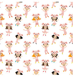 cheerful kids in piglet costumes vector image