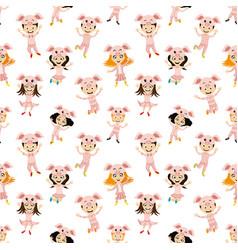 Cheerful kids in piglet costumes vector