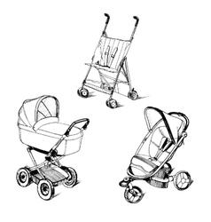 Children strollers vector