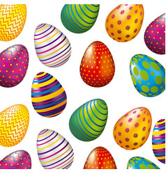 colorful glossy eggs easter celebration set vector image